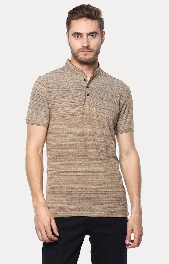 OCTAVE | Khaki Striped Polo T-Shirt