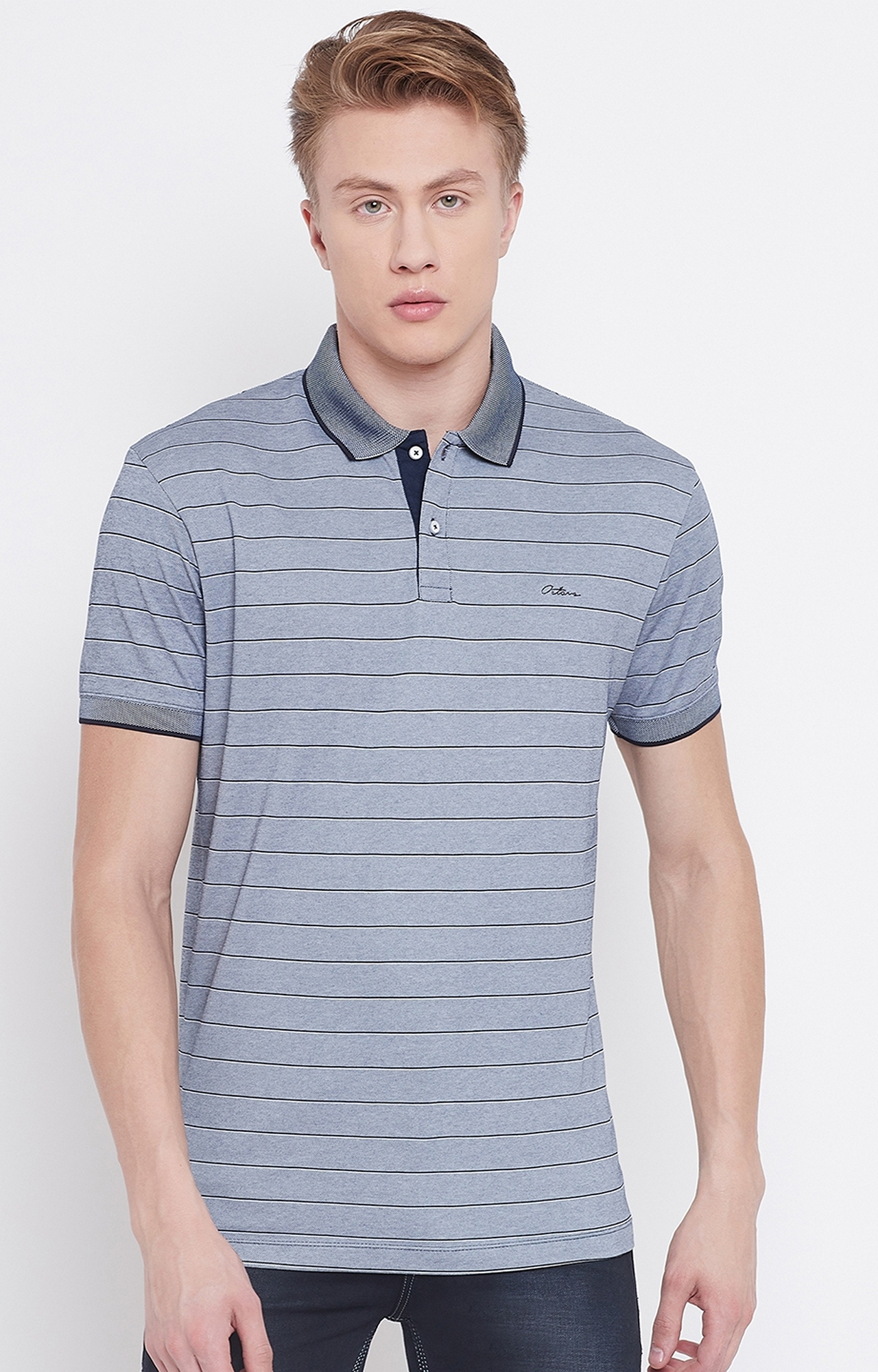 OCTAVE   Navy Striped Polo T-Shirt