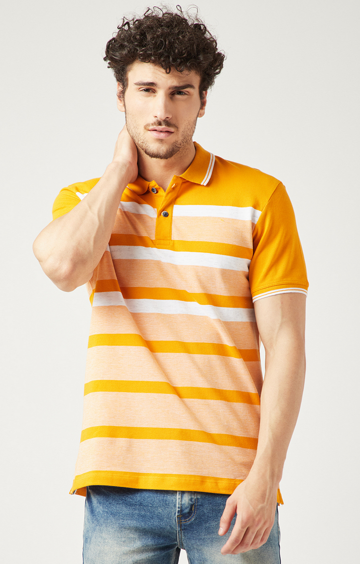 OCTAVE | Mustard Striped Polo T-Shirt