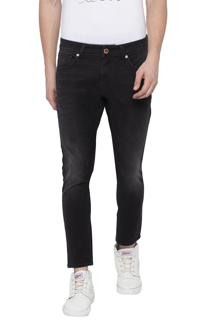 Spykar | Spykar Carbon Black Solid Slim Thigh Ankle Length Fit Jeans