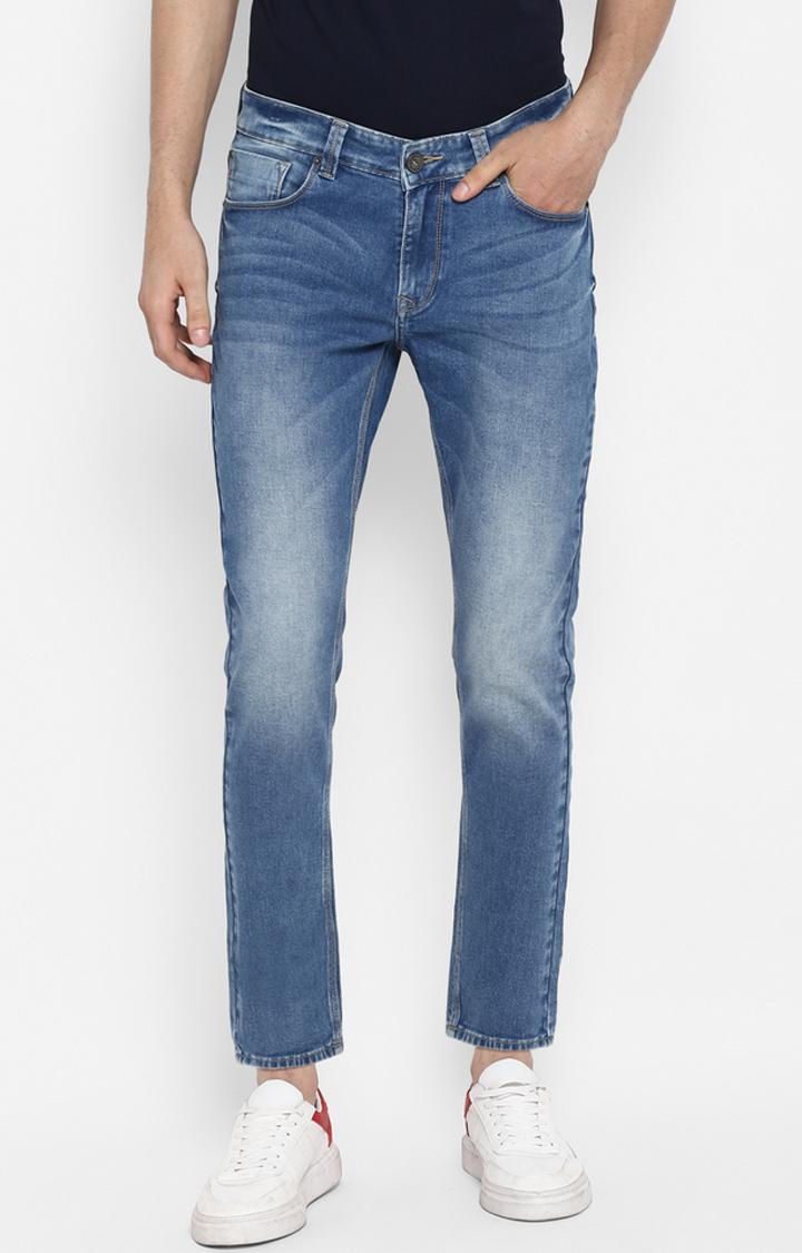 Spykar | Spykar Mid Blue Solid Tapered Jeans