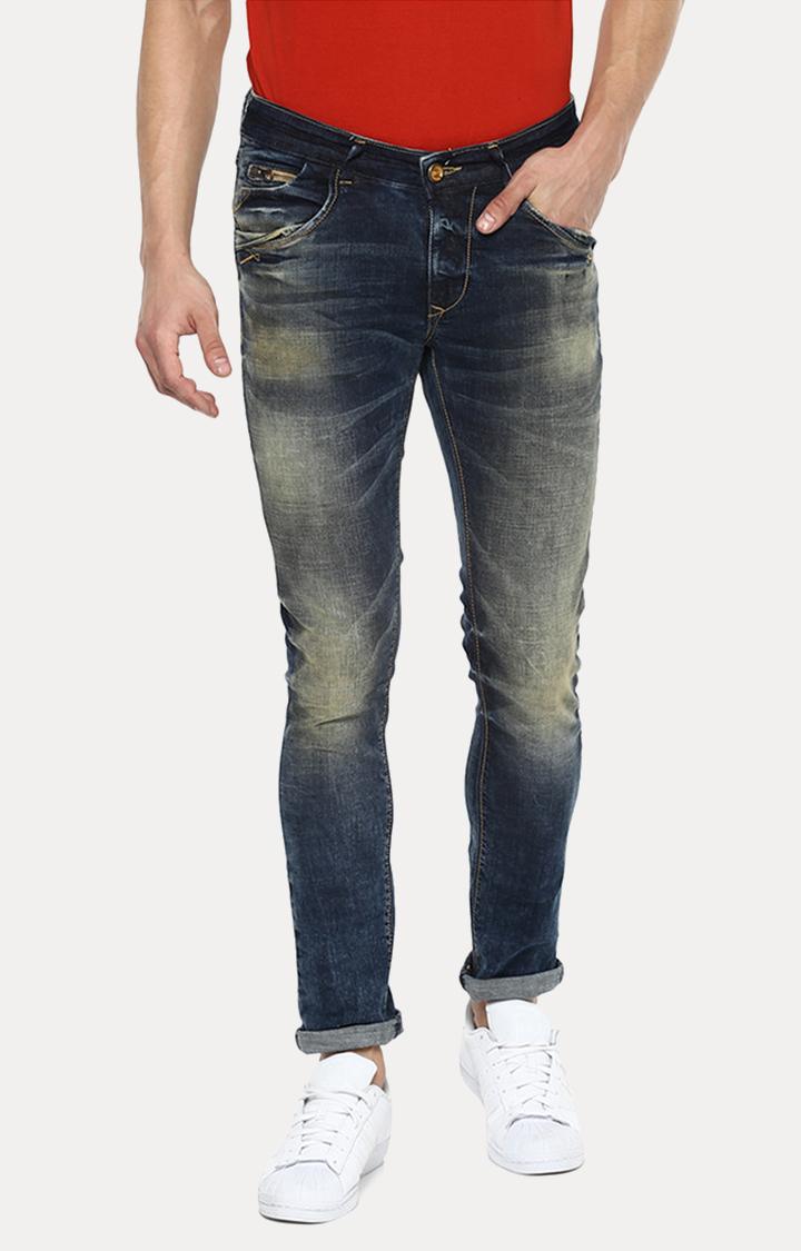 Spykar   Spykar Blue Solid Skinny Fit Jeans