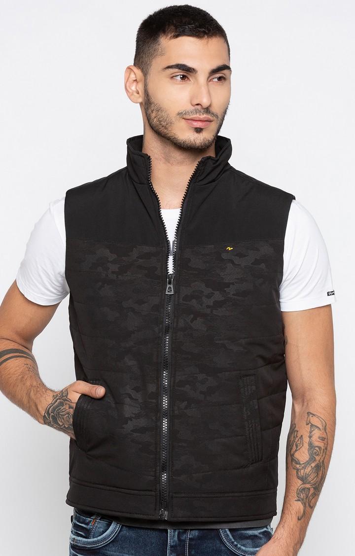 Spykar | spykar Black Camouflage Regular Fit Front Open Jackets