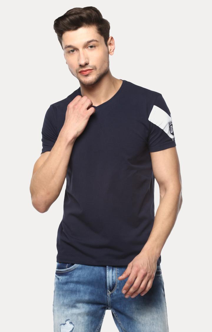 Spykar   spykar Navy Blue Solid Slim Fit T-Shirt