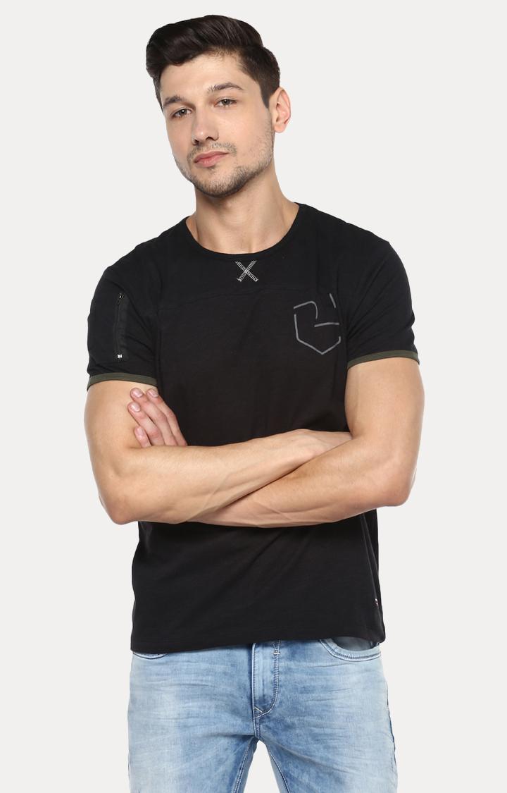 Spykar | spykar Black Solid Slim Fit T-Shirt