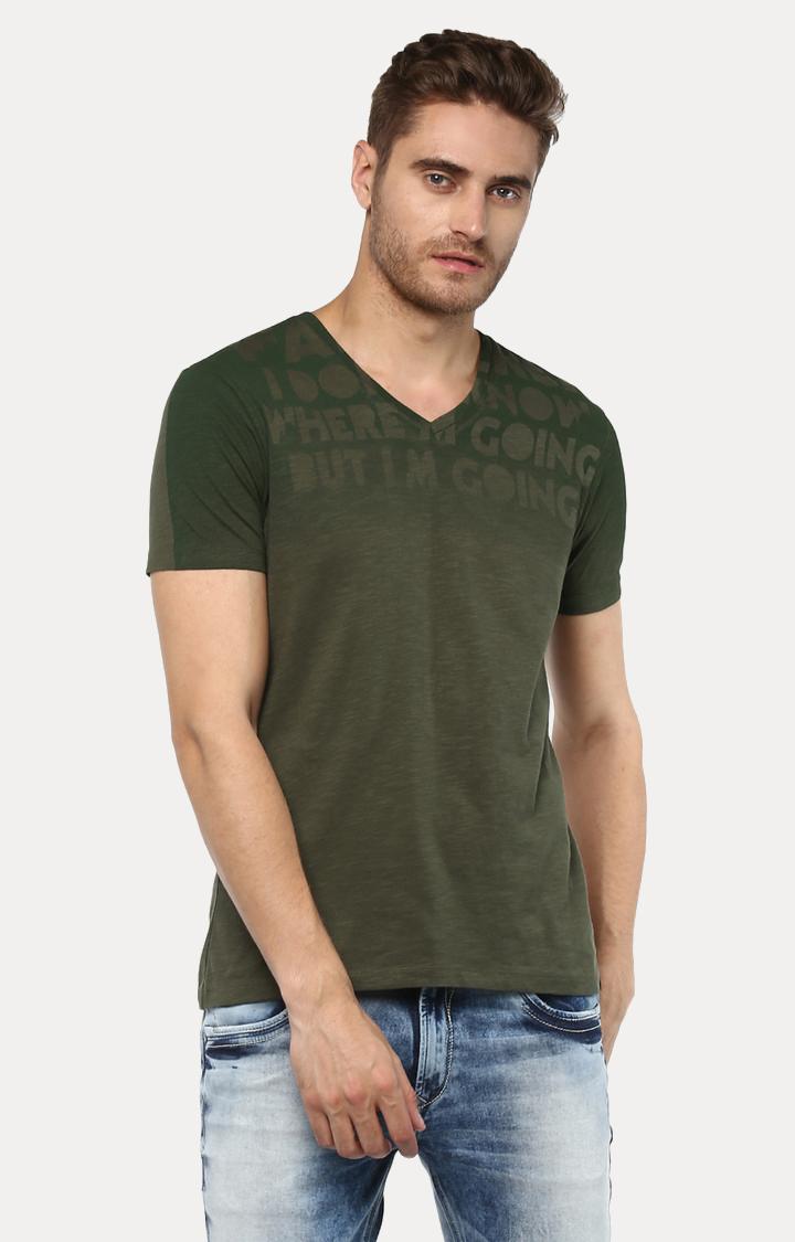 Spykar   spykar Green Printed Slim Fit T-Shirt