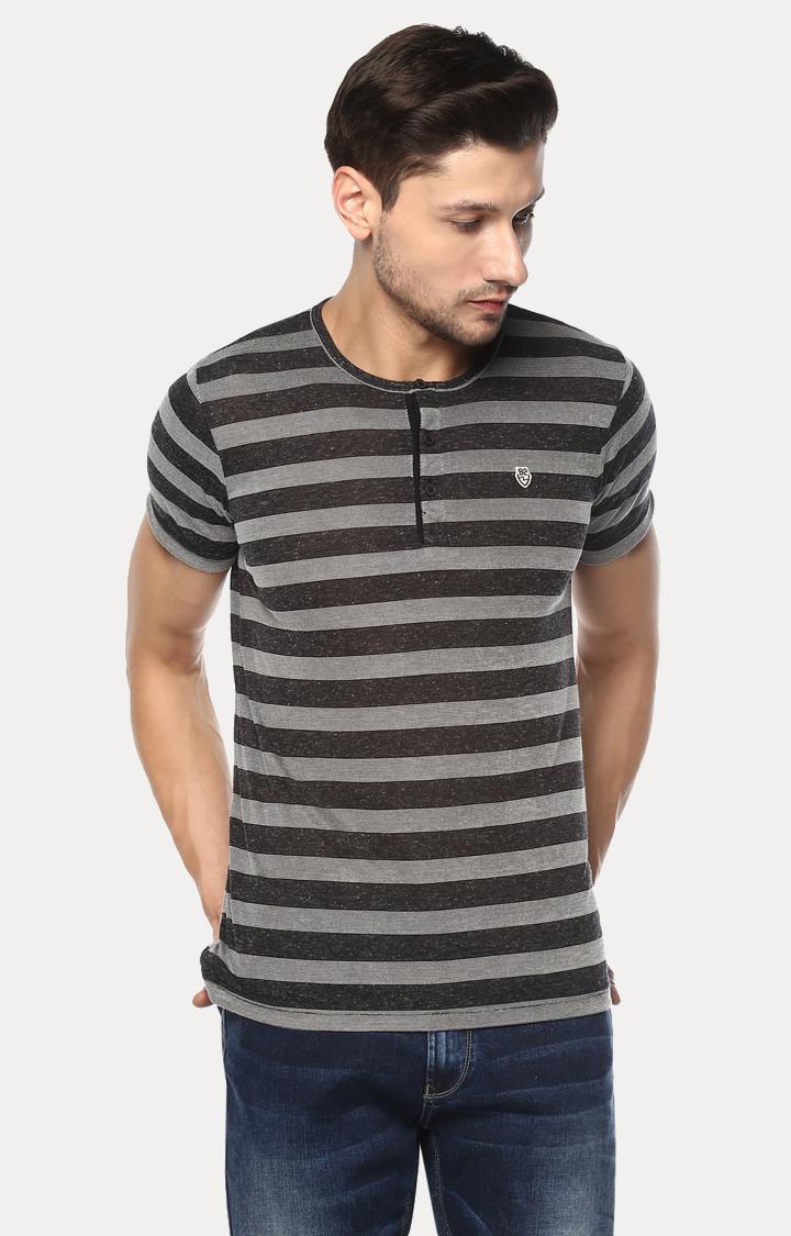 Spykar | spykar Black Striped Slim Fit T-Shirt