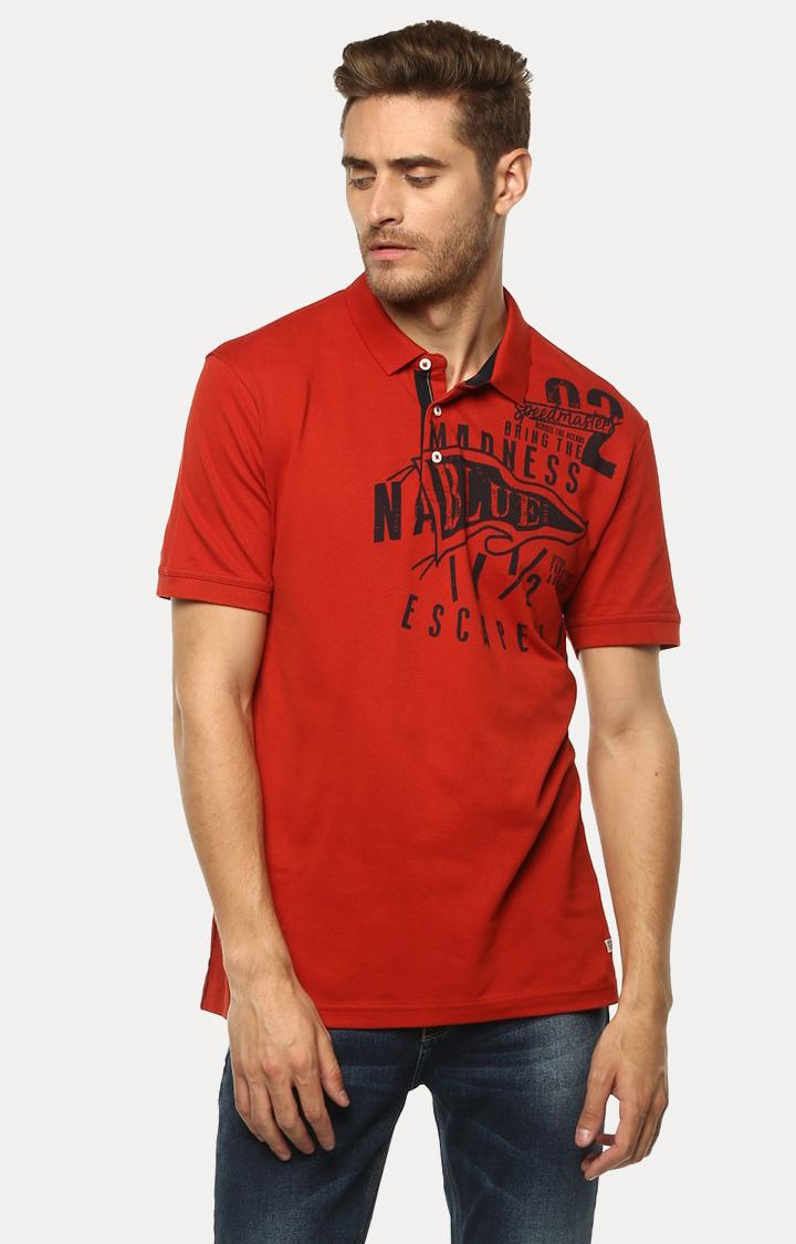 Spykar | spykar Orange Printed Slim Fit Polo T-Shirt