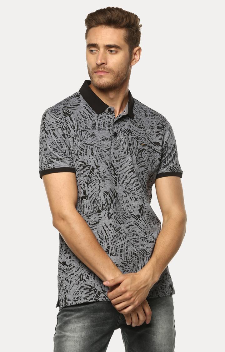 Spykar   spykar Black Printed Slim Fit Polo T-Shirt
