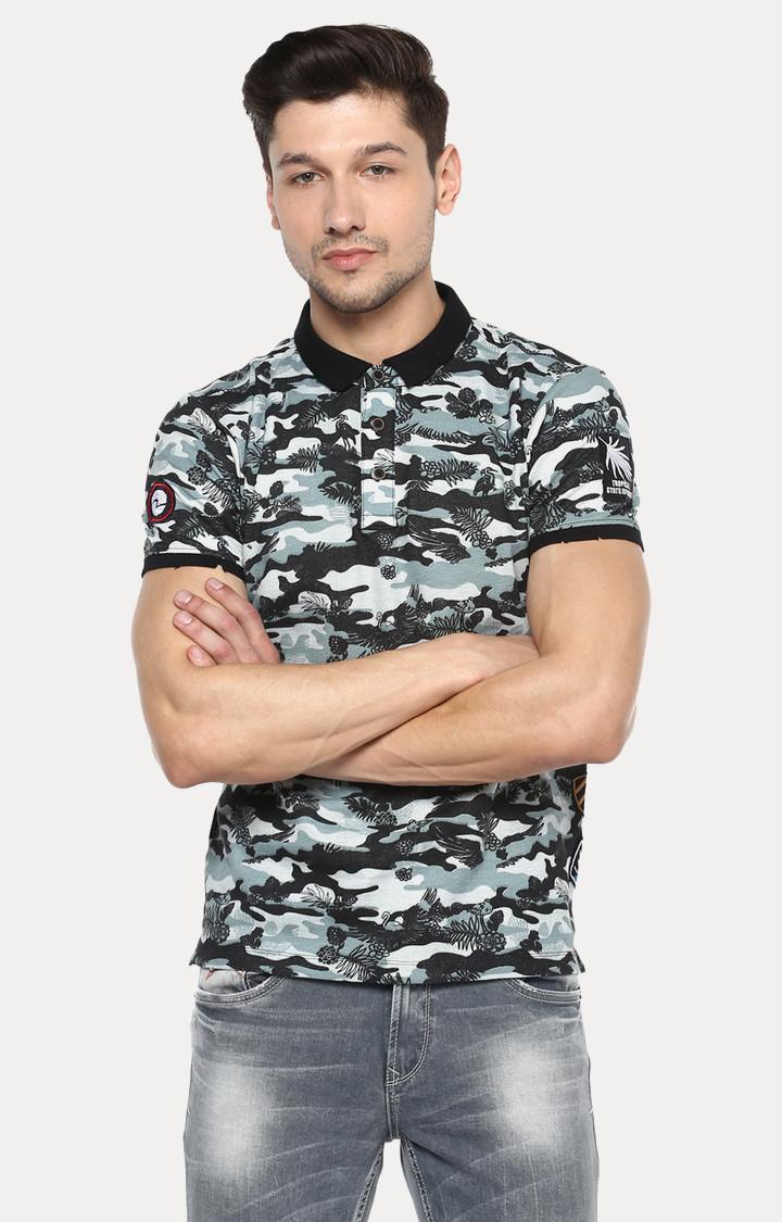 Spykar | spykar Black Camouflage Slim Fit Polo T-Shirt