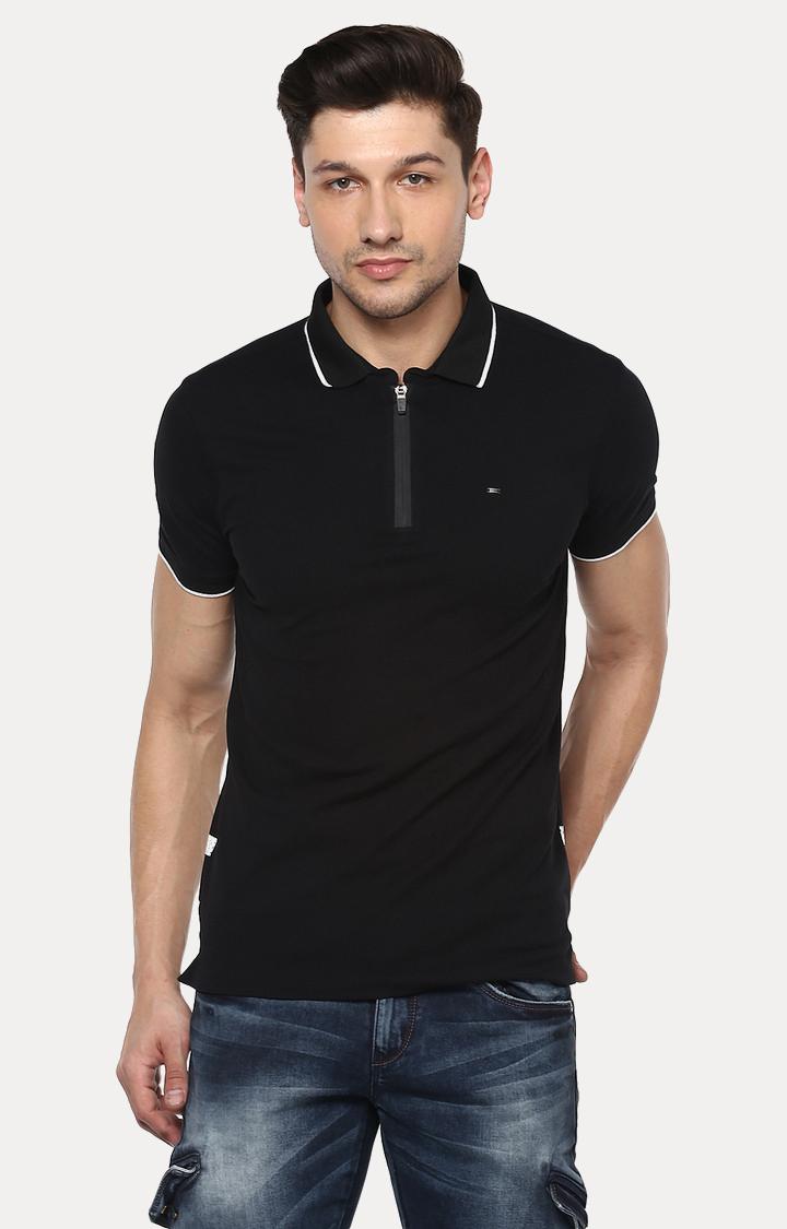 Spykar | spykar Black Solid Slim Fit Polo T-Shirt