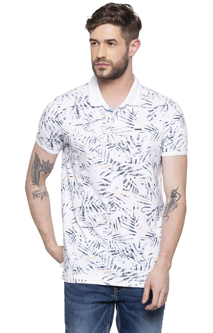 Spykar | spykar White Printed Slim Fit Polo T-Shirt