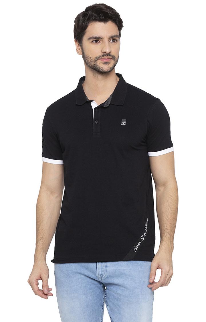 Spykar   spykar Black Solid Polo T-Shirt