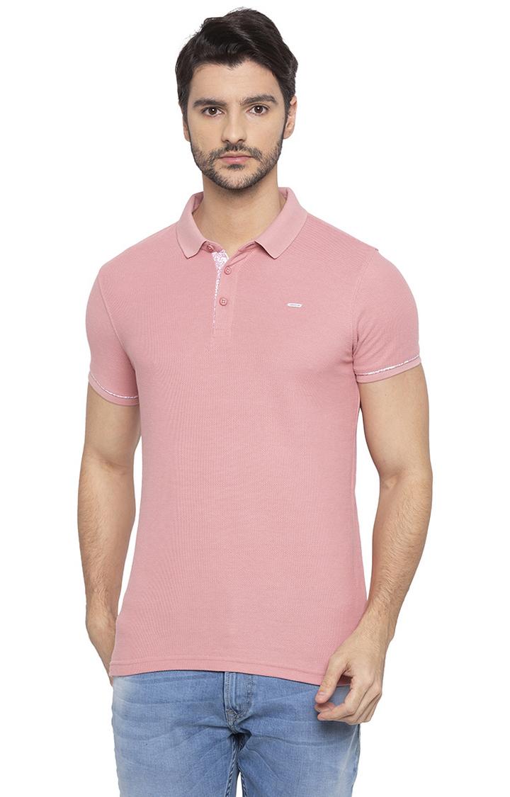 Spykar | spykar Light Pink Solid Slim Fit Polo T-Shirt