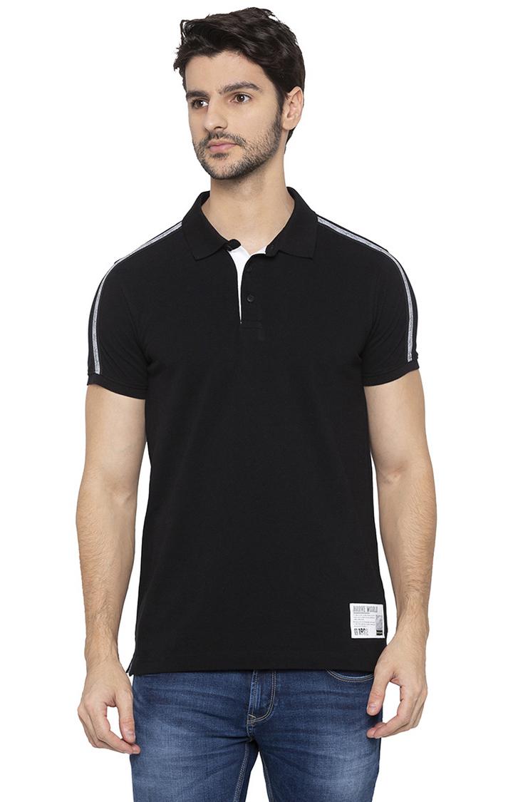 Spykar | spykar Black Solid Polo T-Shirt