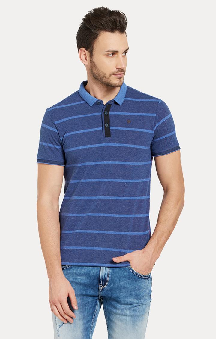 Spykar | spykar Blue Striped Slim Fit Polo T-Shirt