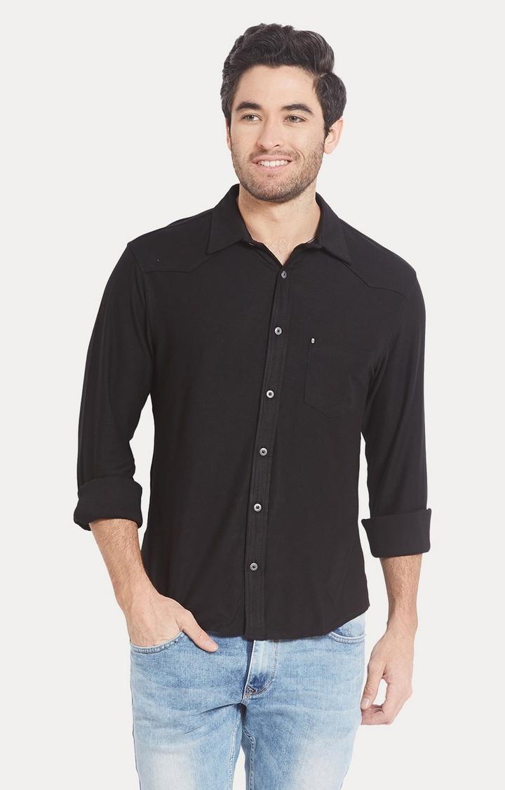 Spykar | spykar Black Solid Slim Fit Casual Shirt