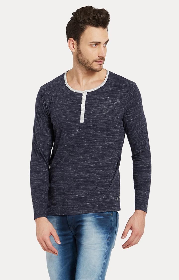 Spykar | spykar Blue Melange Slim Fit T-Shirt
