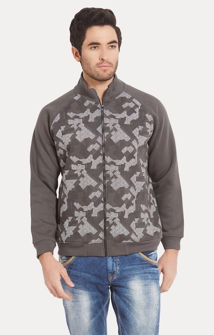 Spykar | spykar Grey Printed Slim Fit Sweatshirt