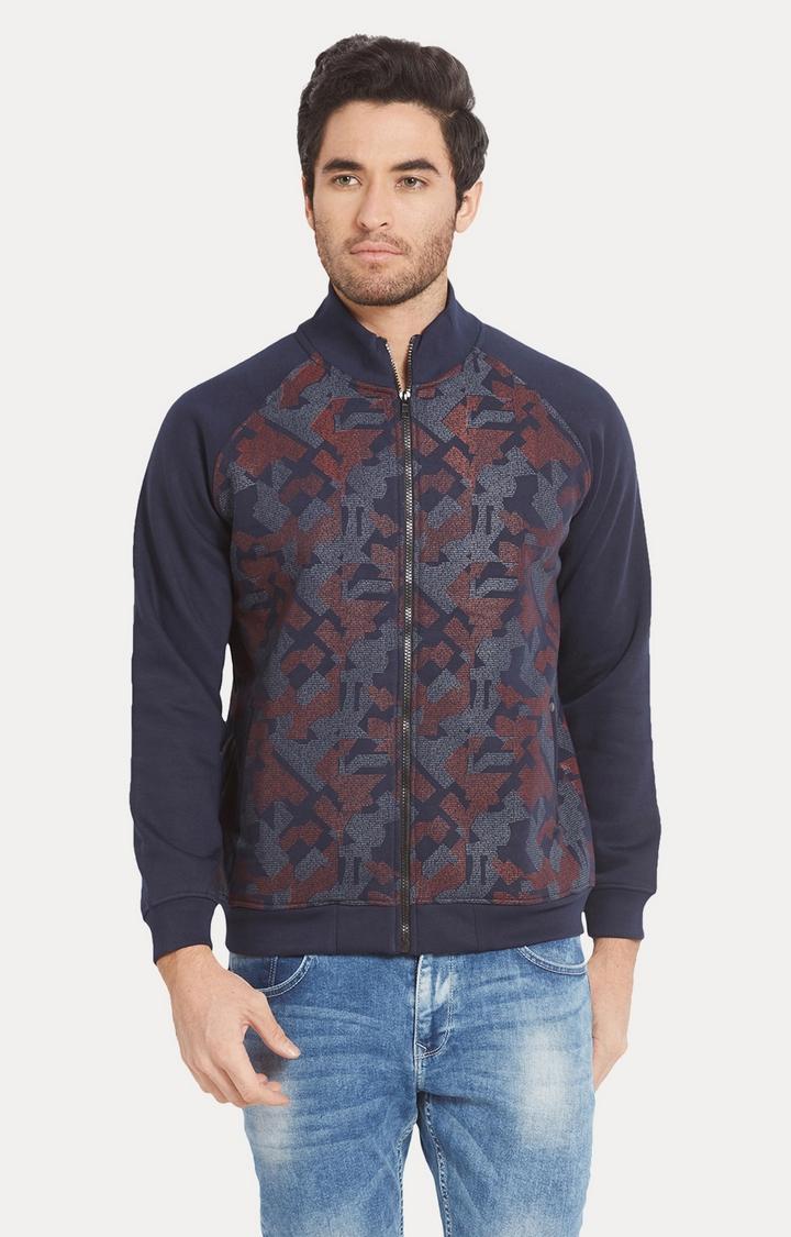 Spykar | spykar Blue Printed Slim Fit Sweatshirt