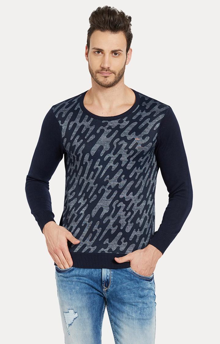 Spykar | spykar Blue Camouflage Slim Fit Sweatshirt