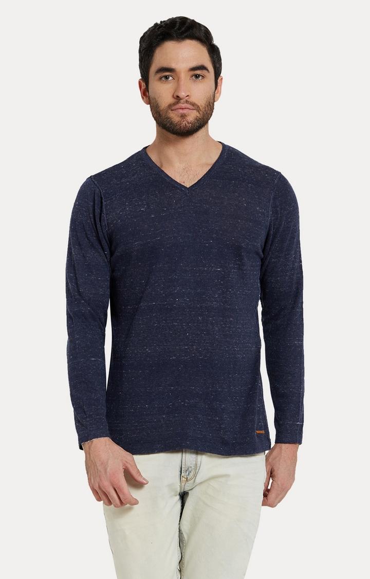 Spykar   spykar Navy Blue Melange Slim Fit T-Shirt