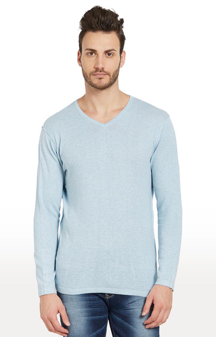 Spykar | spykar Sky Blue Melange Slim Fit T-Shirt