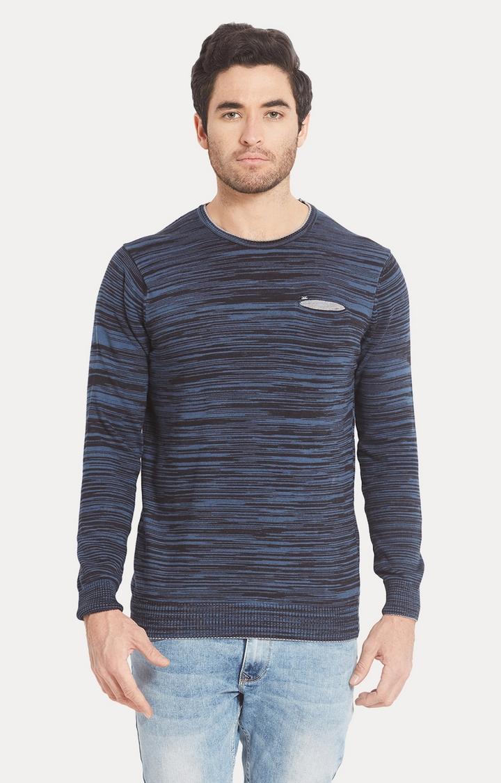 Spykar   spykar Blue Melange Slim Fit T-Shirt