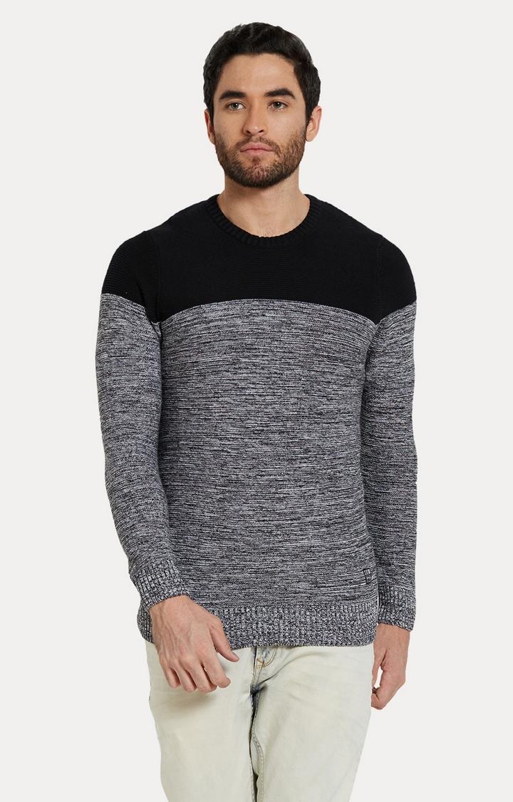 Spykar | spykar Black & Grey Melange Slim Fit T-Shirt