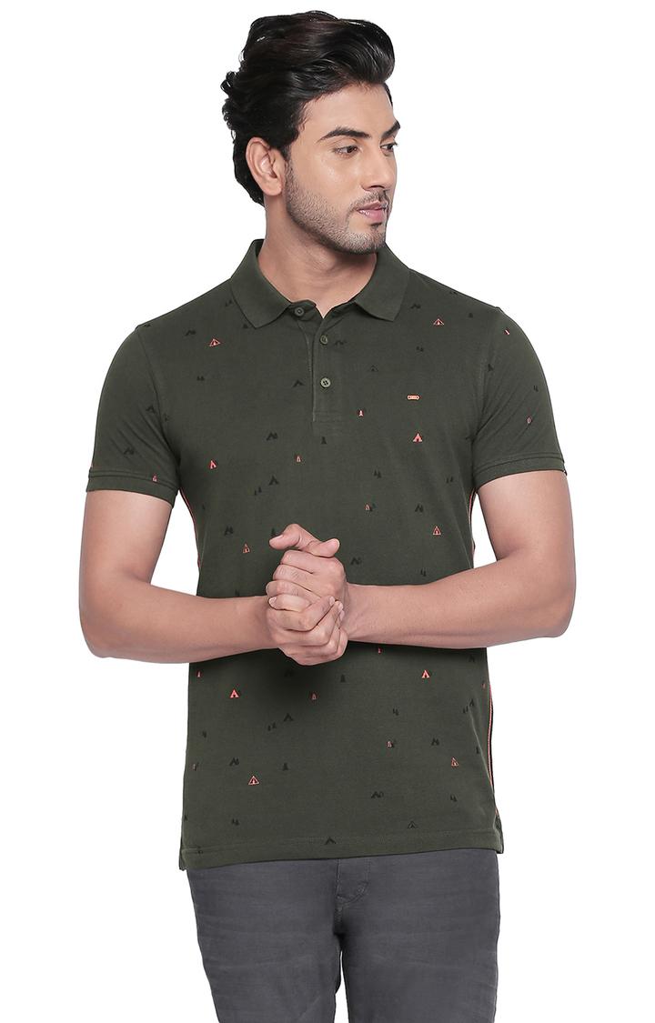 Spykar | spykar Olive Printed Slim Fit Polo T-Shirt