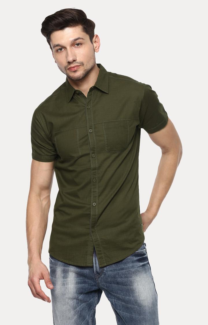 Spykar | spykar Green Solid Slim Fit Casual Shirt