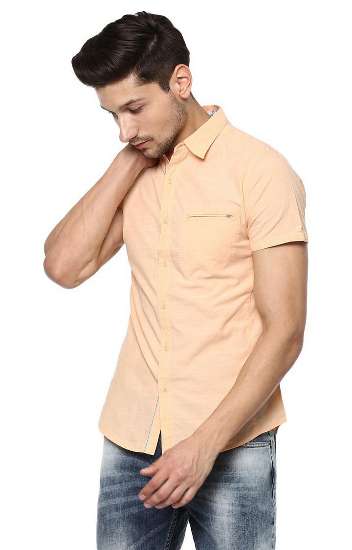 Spykar   spykar Peach Solid Slim Fit Casual Shirt