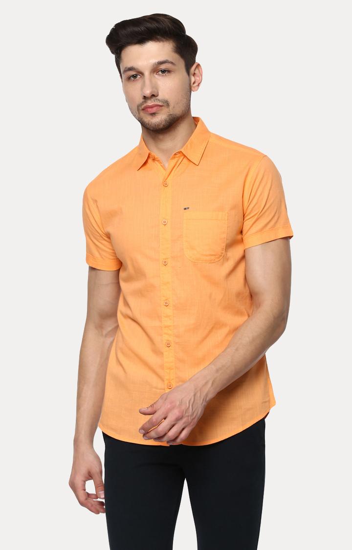 Spykar | spykar Orange Melange Slim Fit Casual Shirt