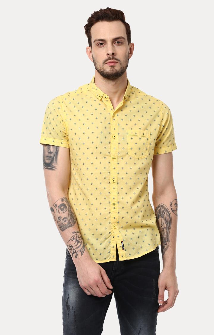 Spykar | spykar Yellow Printed Slim Fit Casual Shirt