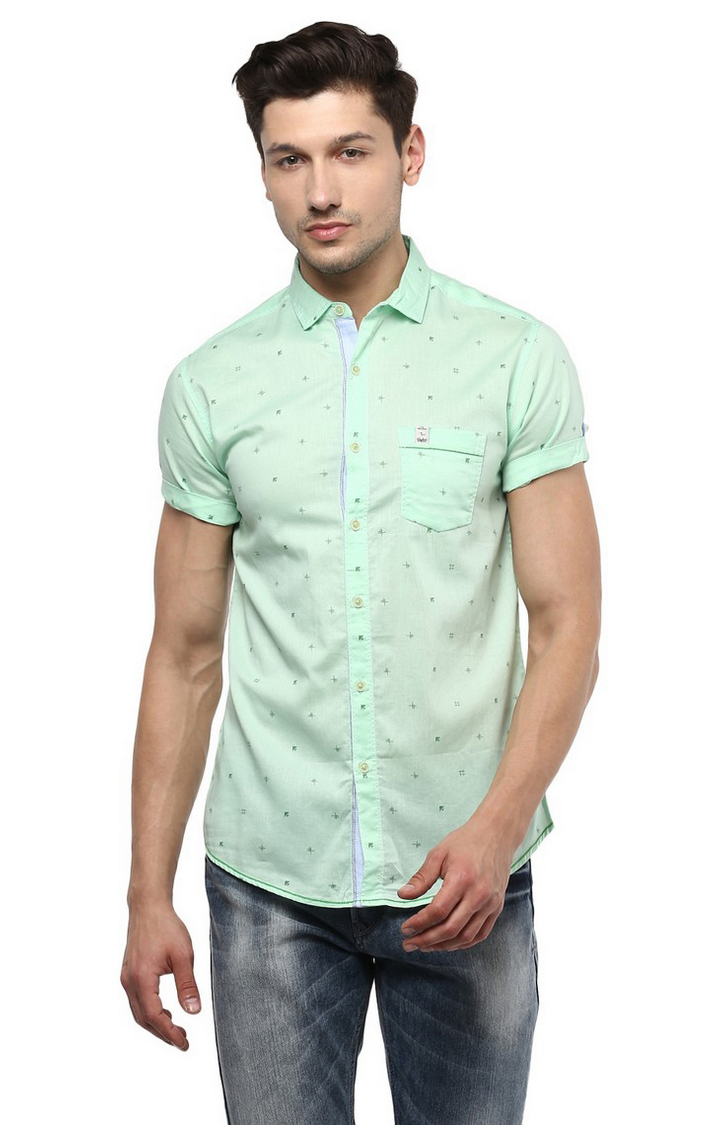 Spykar | spykar Mint Printed Slim Fit Casual Shirt