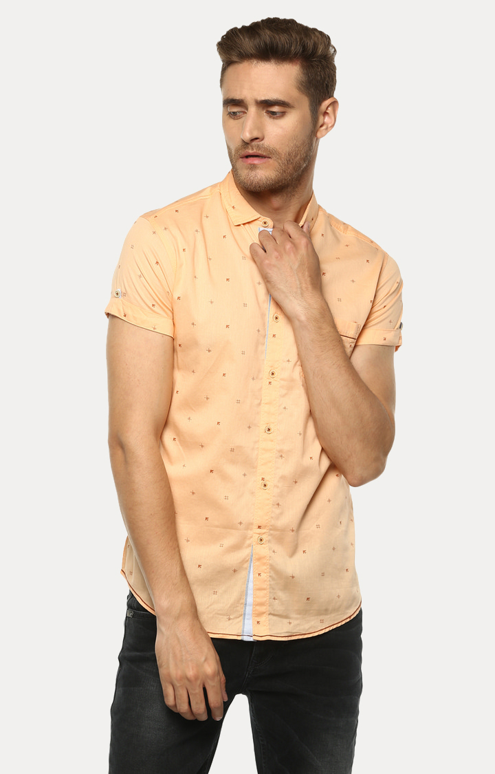 Spykar | spykar Peach Printed Slim Fit Casual Shirt