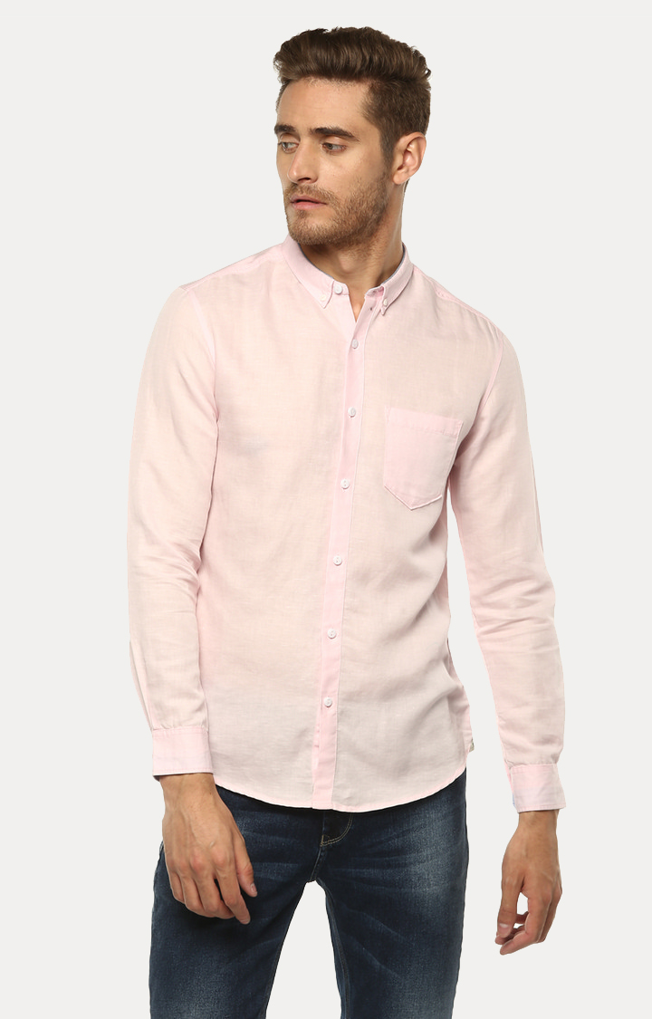 Spykar | spykar Light Pink Solid Slim Fit Casual Shirt
