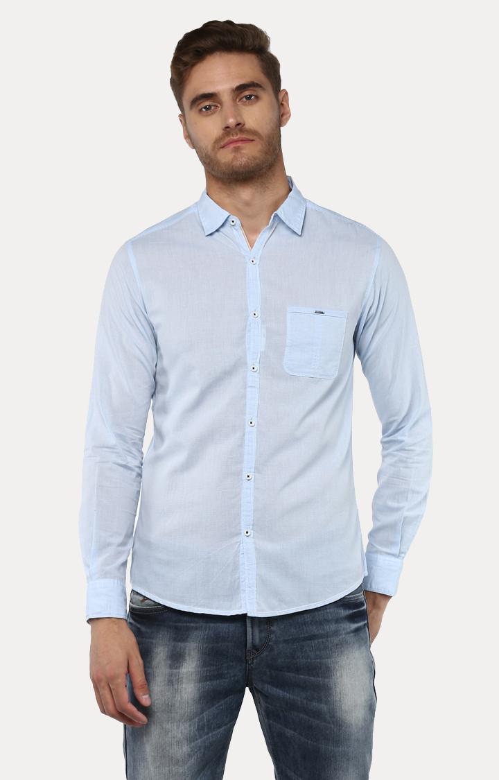 Spykar | spykar Light Blue Striped Slim Fit Casual Shirt