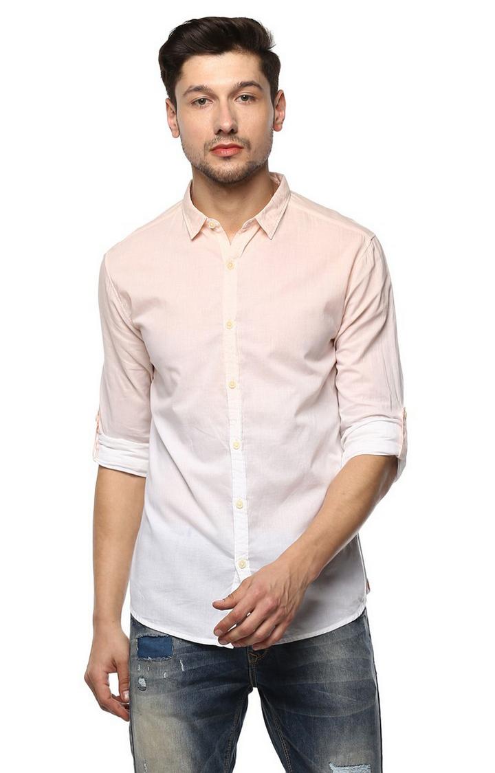 Spykar | spykar Peach Solid Slim Fit Casual Shirt