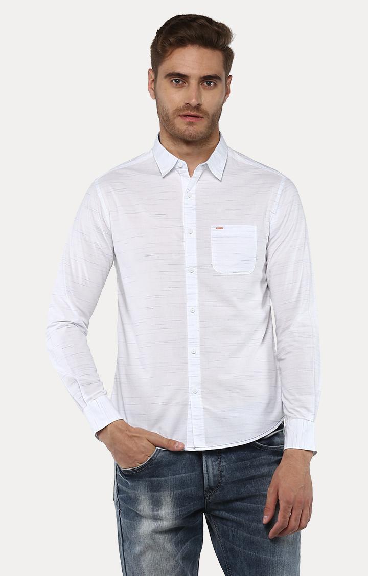 Spykar | spykar White Melange Slim Fit Casual Shirt