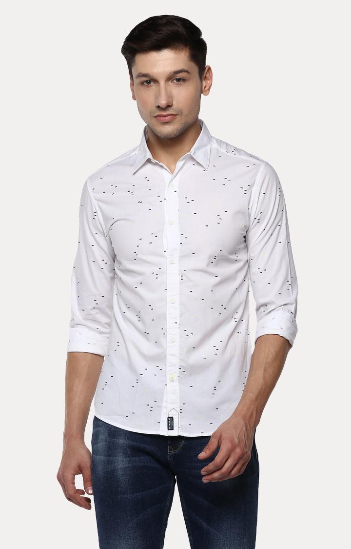 Spykar | spykar White Printed Slim Fit Casual Shirt