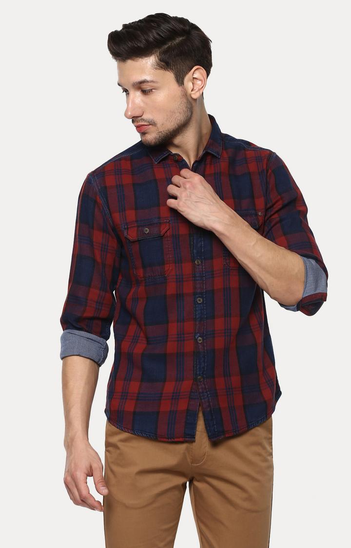 Spykar | spykar Red & Blue Checked Slim Fit Casual Shirt
