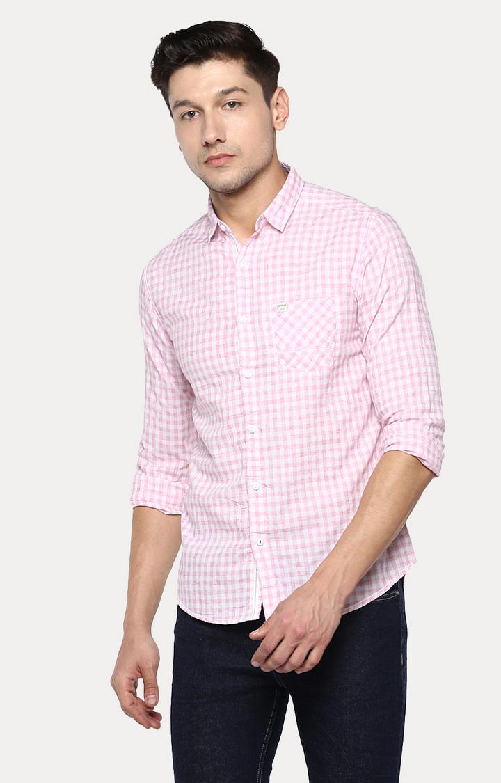 Spykar | spykar Pink Checked Slim Fit Casual Shirt