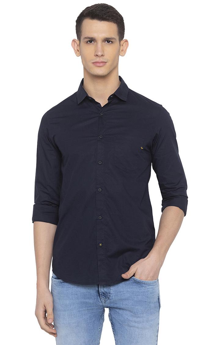 Spykar | spykar Navy Solid Casual Shirt