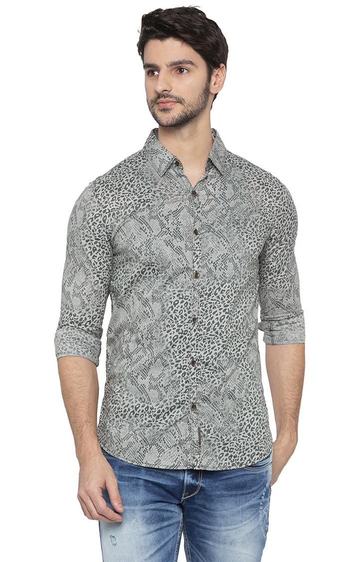 Spykar   spykar Grey Printed Slim Fit Casual Shirt