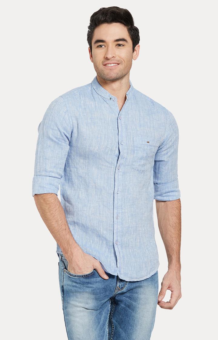 Spykar | spykar Blue Melange Slim Fit Casual Shirt