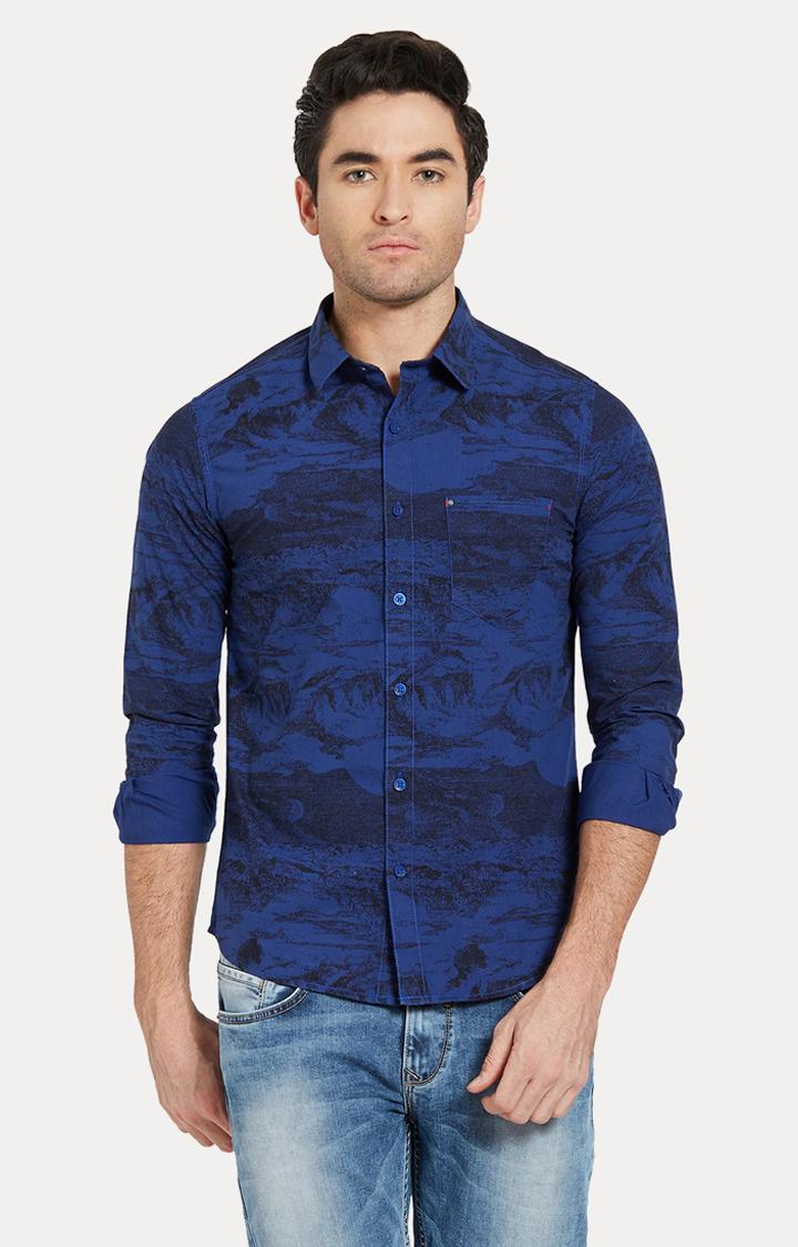 Spykar | spykar Blue Printed Slim Fit Casual Shirt