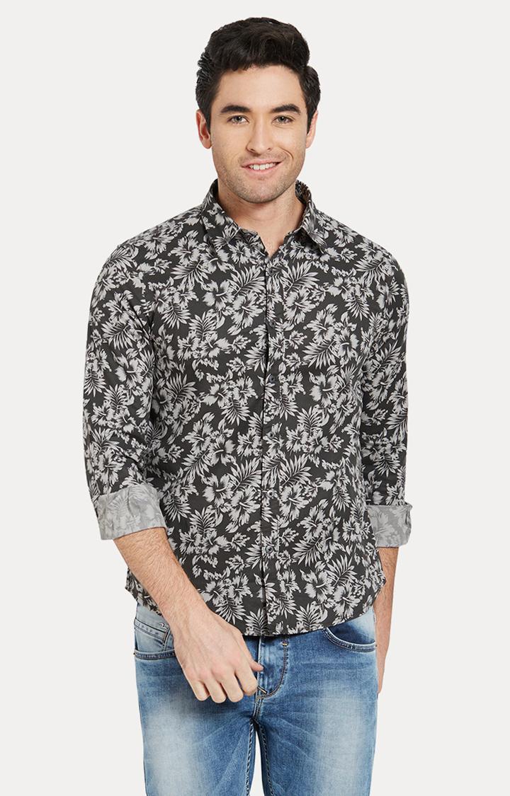 Spykar | spykar Grey Printed Slim Fit Casual Shirt