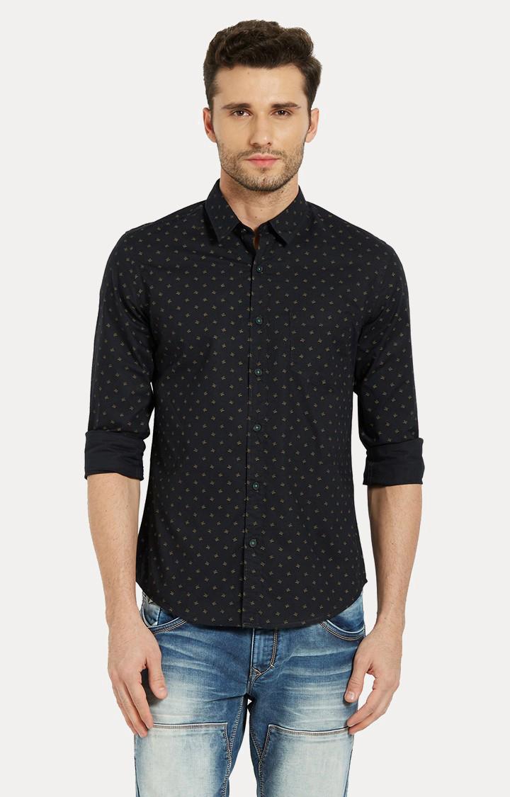 Spykar | spykar Black Printed Slim Fit Casual Shirt