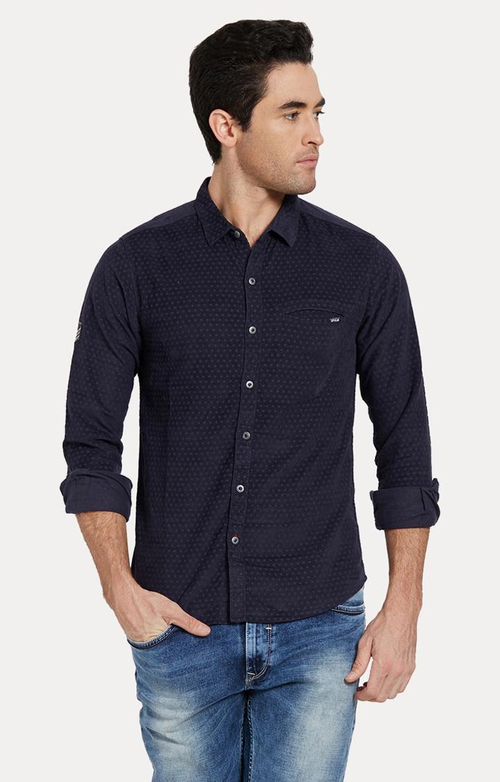 Spykar | spykar Navy Printed Slim Fit Casual Shirt